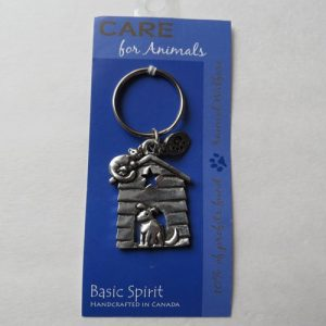 Pewter CARE Dog House Key Chain