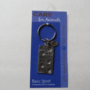 Pewter CARE Wander Key Chain