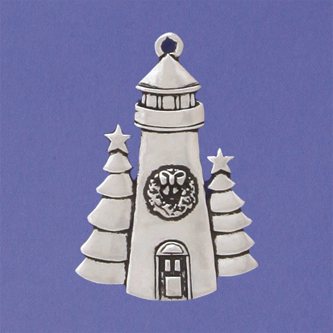Lighthouse With Tree Christmas Ornament