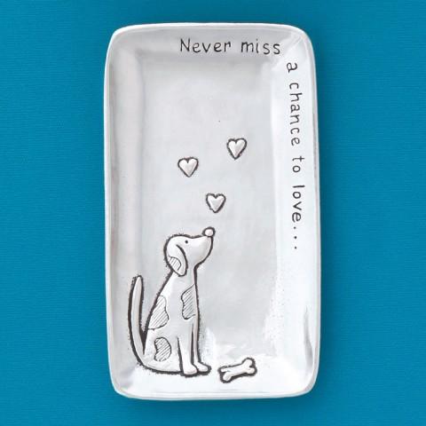 Hearts & Dog Small Tray