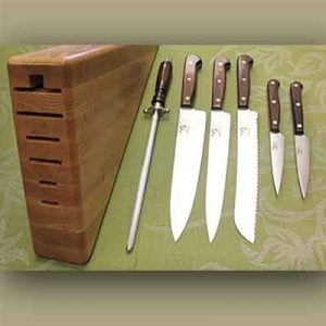 The Made In Nova Scotia Store - 7 Piece Kitchen Set (Full Tang) with Triangle Block