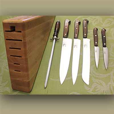 7 Piece Kitchen Set (Full Tang) with Triangle Block