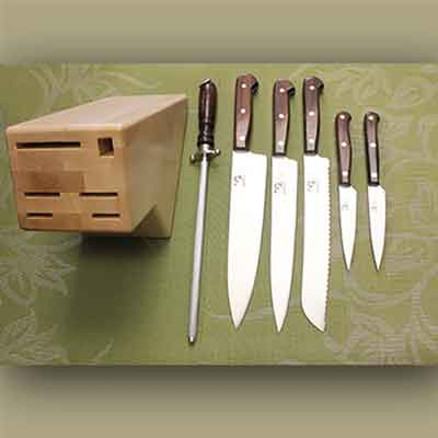 7 Piece Kitchen Set (Full Tang) with Rectangle Block